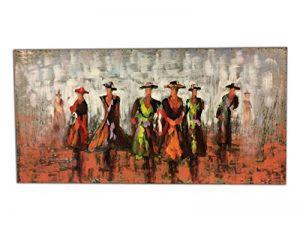 Tableau métallique Relief 3D / Décoration Murale/Toile Faite à la Main damasquinage, Soudure, Peinture – Motif Femmes & Robes de la marque Meubletmoi image 0 produit