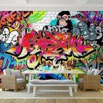 Tapisserie Photo Mur de pierre Graffiti 352 x 250 cm Laine papier peint Salon Chambre Bureau Couloir décoration Peinture murale décor mural moderne - 100% FABRIQUÉ EN ALLEMAGNE - 9065011a de la marque Images et Papier peint Runa image 1 produit