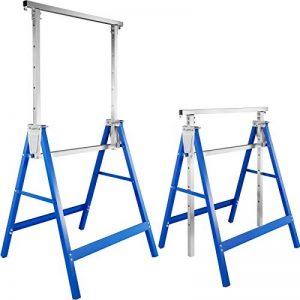 TecTake Lot de 2 Tréteaux télescopique | pliables hauteur réglable - diverses modèles - (Bleu | No. 402450) de la marque TecTake image 0 produit