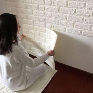 Tefamore PE Foam Fond d'écran 3D Autocollants muraux pour mur Décoration murale En relief Pierre de brique (Blanc) de la marque Tefamore image 0 produit