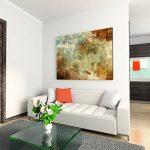 Toile sur châssis 120x 80cm peinture acrylique abstrait bleu marron rouge beige sur toile comme panoramique de la marque Paul-Sinus-Art image 2 produit