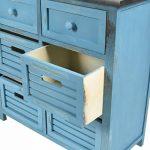 ts-ideen Commode campagnarde pour couloir meuble salle de bain dans le style shabby Bleu et Noir avec 6 tiroirs de la marque ts-ideen image 2 produit