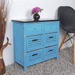 ts-ideen Commode campagnarde pour couloir meuble salle de bain dans le style shabby Bleu et Noir avec 6 tiroirs de la marque ts-ideen image 4 produit