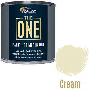 Une Peinture, un manteau, Multi Surface Peinture pour bois, métal, plastique, intérieur, extérieur, crème, Satiné, 1litre de la marque THE ONE image 0 produit