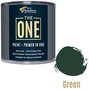 Une Peinture, un manteau, Multi Surface Peinture pour bois, métal, plastique, intérieur, extérieur, Vert, Satiné, 250ml de la marque THE ONE image 0 produit