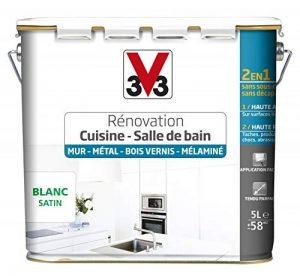 V33 Peinture rénovation - Cuisine, salle de bain - Murs, métal, bois vernis, mélaminé, Blanc satin, 5L de la marque V33 image 0 produit