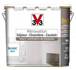 V33 Peinture rénovation- multi-Supports intérieurs - Séjour, Chambre, couloir, Blanc mat, 5L de la marque V33 image 0 produit