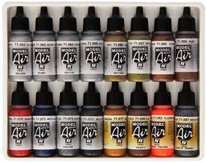 Vallejo Lot de 16pots de peinture acrylique pour Air Brush Couleurs assorties Effet métallisé de la marque Vallejo image 0 produit