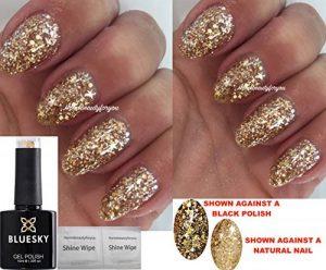 Vernis à ongles transparent Superstar SP18 par Bluesky - Avec gel doré et gel avec étoiles - Séchage sous lampe UV/ LED - 10ml - 2lingettes Homebeautyforyou incluses de la marque Bluesky image 0 produit