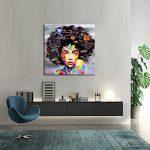 VIIVEI Coloré Mur Art Abstrait Neuf Graffiti Street Moderne Africaine Femme Femelle Portrait Peinture sur Toile sur des Impressions pour Le Salon Cadre en Bois de la marque VIIVEI image 1 produit