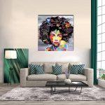 VIIVEI Coloré Mur Art Abstrait Neuf Graffiti Street Moderne Africaine Femme Femelle Portrait Peinture sur Toile sur des Impressions pour Le Salon Cadre en Bois de la marque VIIVEI image 3 produit