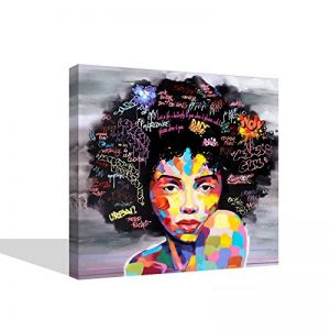 VIIVEI Coloré Mur Art Abstrait Neuf Graffiti Street Moderne Africaine Femme Femelle Portrait Peinture sur Toile sur des Impressions pour Le Salon Cadre en Bois de la marque VIIVEI image 0 produit