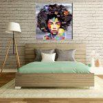 VIIVEI Coloré Mur Art Abstrait Neuf Graffiti Street Moderne Africaine Femme Femelle Portrait Peinture sur Toile sur des Impressions pour Le Salon Cadre en Bois de la marque VIIVEI image 4 produit