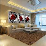 VORCOOL 3pcs Impression sur Toile 3 parties Rose Fleur Impression sur Toile Décoration Murale pour chambre Peintures à l'huile pour Maison Salon Chambre-20*20cm de la marque VORCOOL image 4 produit