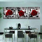 VORCOOL 3pcs Impression sur Toile 3 parties Rose Fleur Impression sur Toile Décoration Murale pour chambre Peintures à l'huile pour Maison Salon Chambre-20*20cm de la marque VORCOOL image 1 produit