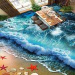 WH-PORP Personnalisé 3D Plancher Peinture Murale Photo Papier Peint Plage Plage Plage Vagues Surf 3D Carreaux De Sol Peinture Salon Salle De Bains Pvc Autocollant Imperméable À L'eau-450cmX300cm de la marque WH-PORP image 1 produit
