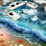 WH-PORP Personnalisé 3D Plancher Peinture Murale Photo Papier Peint Plage Plage Plage Vagues Surf 3D Carreaux De Sol Peinture Salon Salle De Bains Pvc Autocollant Imperméable À L'eau-450cmX300cm de la marque WH-PORP image 3 produit