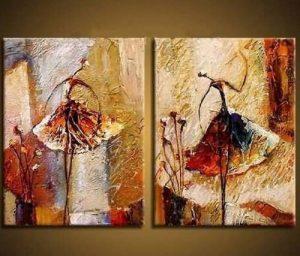 Wieco Art Peinture abstraite à l'huile sur toile Prête à accrocher pour décoration de la maison Motif diptyque représentant des danseurs de ballet de la marque Wieco-Art image 0 produit