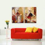 Wieco Art Peinture abstraite à l'huile sur toile Prête à accrocher pour décoration de la maison Motif diptyque représentant des danseurs de ballet de la marque Wieco-Art image 3 produit