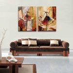 Wieco Art Peinture abstraite à l'huile sur toile Prête à accrocher pour décoration de la maison Motif diptyque représentant des danseurs de ballet de la marque Wieco-Art image 4 produit