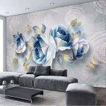 Xzfddn Style Européen 3D Stéréo Rose Fleurs Photo Peintures Murales Salon Tv Chambre Décor À La Maison Fond Muraux Papiers Pour Murs 3D-450X300Cm de la marque xzfddn image 2 produit