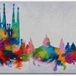 YS-Art Tableau Peinture Acrylique Couleurs Barcelone| Peint à la Main | 115x50cm | Tableau | Art Moderne|Unique| Coloré de la marque YS-Art image 1 produit