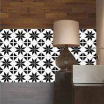 ZYX Stickers muraux carreaux en Vintage salle de bain et cuisine | adhésif sticker feuille pour carreaux salle de bain et crédence Autocollant de plancher Rétro noir et blanc CZ054 , 20cm*100cm*2pcs de la marque JY ART image 2 produit